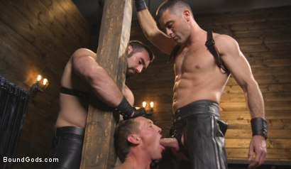 Photo number 3 from Training Day - Dom in training gets to break in a ripped, new slave shot for Bound Gods on Kink.com. Featuring Jaxton Wheeler, Lance Hart and Pierce Paris in hardcore BDSM & Fetish porn.