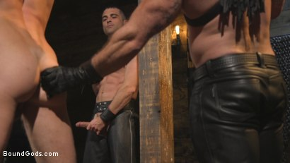 Photo number 7 from Training Day - Dom in training gets to break in a ripped, new slave shot for Bound Gods on Kink.com. Featuring Jaxton Wheeler, Lance Hart and Pierce Paris in hardcore BDSM & Fetish porn.