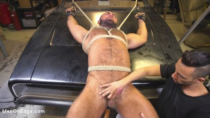Photo number 12 from Beefy mechanic taken down & edged against his will shot for Men On Edge on Kink.com. Featuring Steven Roman in hardcore BDSM & Fetish porn.