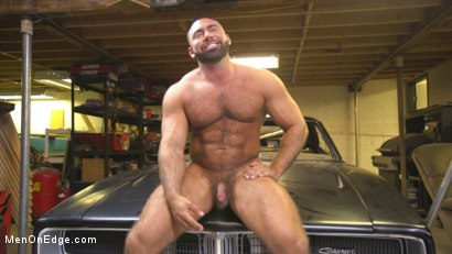 Photo number 15 from Beefy mechanic taken down & edged against his will shot for Men On Edge on Kink.com. Featuring Steven Roman in hardcore BDSM & Fetish porn.