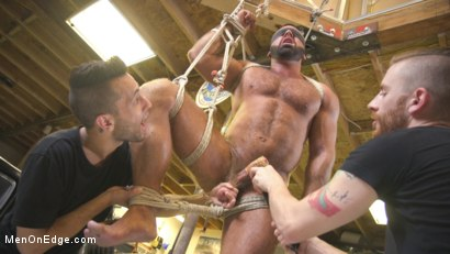Photo number 9 from Beefy mechanic taken down & edged against his will shot for Men On Edge on Kink.com. Featuring Steven Roman in hardcore BDSM & Fetish porn.