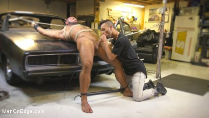 Photo number 10 from Beefy mechanic taken down & edged against his will shot for Men On Edge on Kink.com. Featuring Steven Roman in hardcore BDSM & Fetish porn.