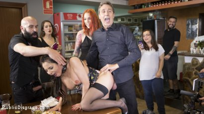 Photo number 15 from Buxom Brunette Sophia Laure Belittled in Barcelona  shot for Public Disgrace on Kink.com. Featuring Steve Holmes, Max Cortes, Silvia Rubi and Sophia Laure in hardcore BDSM & Fetish porn.