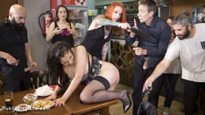 Photo number 16 from Buxom Brunette Sophia Laure Belittled in Barcelona  shot for Public Disgrace on Kink.com. Featuring Steve Holmes, Max Cortes, Silvia Rubi and Sophia Laure in hardcore BDSM & Fetish porn.