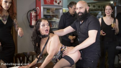 Photo number 17 from Buxom Brunette Sophia Laure Belittled in Barcelona  shot for Public Disgrace on Kink.com. Featuring Steve Holmes, Max Cortes, Silvia Rubi and Sophia Laure in hardcore BDSM & Fetish porn.