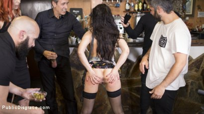 Photo number 24 from Buxom Brunette Sophia Laure Belittled in Barcelona  shot for Public Disgrace on Kink.com. Featuring Steve Holmes, Max Cortes, Silvia Rubi and Sophia Laure in hardcore BDSM & Fetish porn.