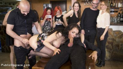 Photo number 27 from Buxom Brunette Sophia Laure Belittled in Barcelona  shot for Public Disgrace on Kink.com. Featuring Steve Holmes, Max Cortes, Silvia Rubi and Sophia Laure in hardcore BDSM & Fetish porn.
