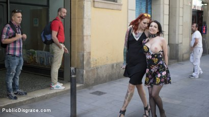 Photo number 8 from Buxom Brunette Sophia Laure Belittled in Barcelona  shot for Public Disgrace on Kink.com. Featuring Steve Holmes, Max Cortes, Silvia Rubi and Sophia Laure in hardcore BDSM & Fetish porn.