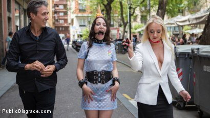 Photo number 4 from The Public Fuck Toy of Barcelona shot for Public Disgrace on Kink.com. Featuring Steve Holmes, Liz Rainbow, Max Cortes and Amber Deen in hardcore BDSM & Fetish porn.