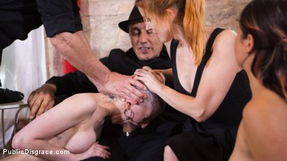 Photo number 10 from Petite Slut Nerea Falco Shaves Head and Gets Gang Fucked in Public! shot for Public Disgrace on Kink.com. Featuring Steve Holmes, Irina Vega, Max Cortes, Nerea Falco and Lady Nala in hardcore BDSM & Fetish porn.