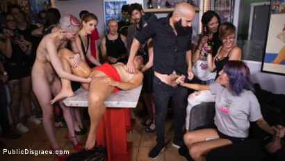 Photo number 18 from Petite Slut Nerea Falco Shaves Head and Gets Gang Fucked in Public! shot for Public Disgrace on Kink.com. Featuring Steve Holmes, Irina Vega, Max Cortes, Nerea Falco and Lady Nala in hardcore BDSM & Fetish porn.