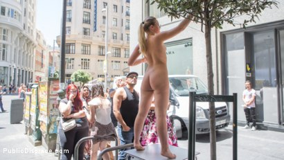 Photo number 1 from Perky Blonde Selvaggia Fully Nude in Public Gets Anal Fisted & DP'd shot for Public Disgrace on Kink.com. Featuring Steve Holmes, Antonio Ross, Tina Kay and Selvaggia in hardcore BDSM & Fetish porn.