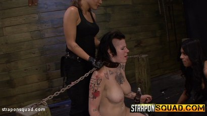 Photo number 15 from Jynx Hollywood Chained to the Sybian by Mena Li & Lexy Villa shot for Strapon Squad on Kink.com. Featuring  in hardcore BDSM & Fetish porn.