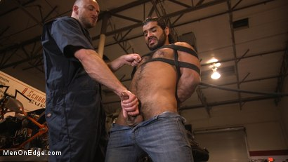 Photo number 2 from Hot biker gets edged in the motorcycle garage shot for Men On Edge on Kink.com. Featuring Ali Liam in hardcore BDSM & Fetish porn.
