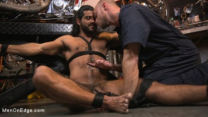 Photo number 14 from Hot biker gets edged in the motorcycle garage shot for Men On Edge on Kink.com. Featuring Ali Liam in hardcore BDSM & Fetish porn.