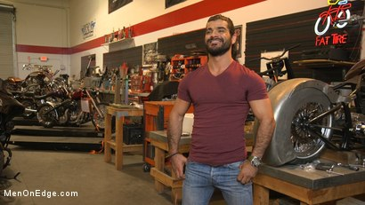 Photo number 1 from Hot biker gets edged in the motorcycle garage shot for Men On Edge on Kink.com. Featuring Ali Liam in hardcore BDSM & Fetish porn.