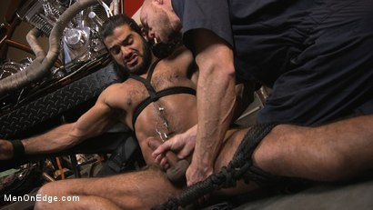 Photo number 12 from Hot biker gets edged in the motorcycle garage shot for Men On Edge on Kink.com. Featuring Ali Liam in hardcore BDSM & Fetish porn.