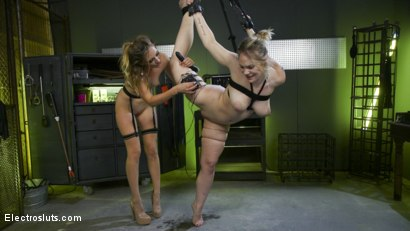 Photo number 20 from Natural Born Electroslut: 1st Porn Shoot EVER for Blonde Bombshell  shot for Electro Sluts on Kink.com. Featuring Mona Wales and Hadley Viscara in hardcore BDSM & Fetish porn.