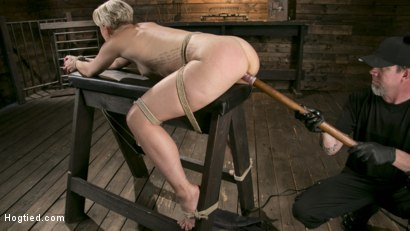 Photo number 12 from Blonde Goddess is Destroyed in Devastating Predicament Bondage shot for Hogtied on Kink.com. Featuring Dylan Ryan and The Pope in hardcore BDSM & Fetish porn.
