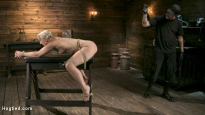 Photo number 3 from Blonde Goddess is Destroyed in Devastating Predicament Bondage shot for Hogtied on Kink.com. Featuring Dylan Ryan and The Pope in hardcore BDSM & Fetish porn.