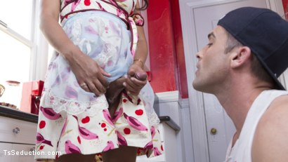 Photo number 5 from TS Hotty Sunshyne Monroe Drains Her Plumbers Throbbing Pipe shot for TS Seduction on Kink.com. Featuring Lance Hart and Sunshyne Monroe in hardcore BDSM & Fetish porn.