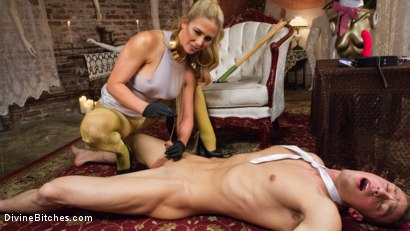 Photo number 7 from Pretty Lil' Fuck Bunny Gets His Dick Sounded and His Ass Fucked by Goddess Cherie Deville shot for Divine Bitches on Kink.com. Featuring Alrik Angel and Cherie DeVille in hardcore BDSM & Fetish porn.