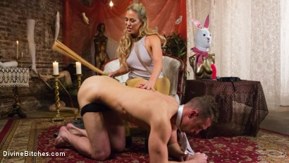 Photo number 12 from Pretty Lil' Fuck Bunny Gets His Dick Sounded and His Ass Fucked by Goddess Cherie Deville shot for Divine Bitches on Kink.com. Featuring Alrik Angel and Cherie Deville in hardcore BDSM & Fetish porn.