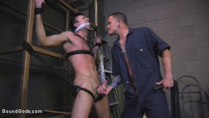 Photo number 3 from Straight Hate-Monger Gets His Ass Violated shot for Bound Gods on Kink.com. Featuring Mason Lear  and Max Cameron in hardcore BDSM & Fetish porn.