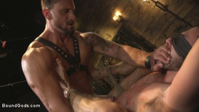 Photo number 13 from Horny Sub is Tormented With the Fucksaw and Hot Wax Pendulums!  shot for Bound Gods on Kink.com. Featuring Scott DeMarco and Dakota Rivers in hardcore BDSM & Fetish porn.