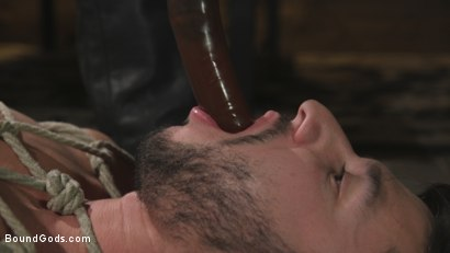 Photo number 3 from Horny Sub is Tormented With the Fucksaw and Hot Wax Pendulums!  shot for Bound Gods on Kink.com. Featuring Scott DeMarco and Dakota Rivers in hardcore BDSM & Fetish porn.