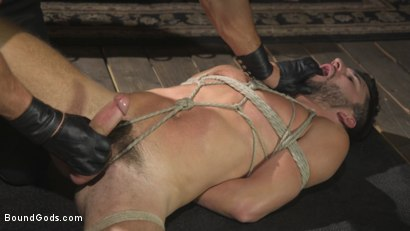 Photo number 5 from Horny Sub is Tormented With the Fucksaw and Hot Wax Pendulums!  shot for Bound Gods on Kink.com. Featuring Scott DeMarco and Dakota Rivers in hardcore BDSM & Fetish porn.