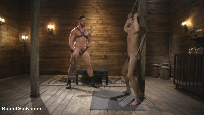 Photo number 6 from Horny Sub is Tormented With the Fucksaw and Hot Wax Pendulums!  shot for Bound Gods on Kink.com. Featuring Scott DeMarco and Dakota Rivers in hardcore BDSM & Fetish porn.