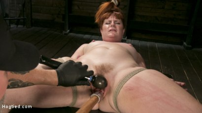 Photo number 12 from Pain Slut in Extreme Bondage Suffers from Brutal Torment shot for Hogtied on Kink.com. Featuring Barbary Rose and The Pope in hardcore BDSM & Fetish porn.