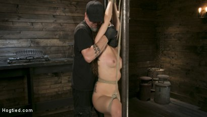Photo number 2 from Masochistic Pain Slut is Sadistically Dominated in Extreme Bondage shot for Hogtied on Kink.com. Featuring Roxanne Rae and The Pope in hardcore BDSM & Fetish porn.