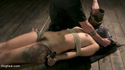 Photo number 19 from Tiny Sexual Plaything Gina Valentina Tied and Fucked in Rope Bondage!  shot for Hogtied on Kink.com. Featuring Gina Valentina and The Pope in hardcore BDSM & Fetish porn.
