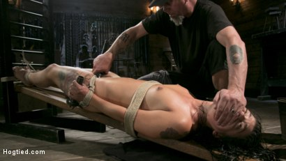 Photo number 21 from Tiny Sexual Plaything Gina Valentina Tied and Fucked in Rope Bondage!  shot for Hogtied on Kink.com. Featuring Gina Valentina and The Pope in hardcore BDSM & Fetish porn.