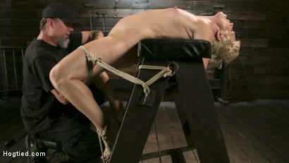 Photo number 11 from Blonde Buff MILF Helena Locke Made to Cum in Tight Rope Bondage!! shot for Hogtied on Kink.com. Featuring The Pope and Helena Locke in hardcore BDSM & Fetish porn.