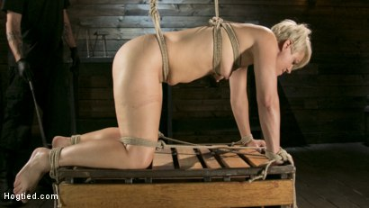 Photo number 16 from Blonde Buff MILF Helena Locke Made to Cum in Tight Rope Bondage!! shot for Hogtied on Kink.com. Featuring The Pope and Helena Locke in hardcore BDSM & Fetish porn.