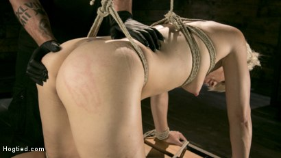 Photo number 17 from Blonde Buff MILF Helena Locke Made to Cum in Tight Rope Bondage!! shot for Hogtied on Kink.com. Featuring The Pope and Helena Locke in hardcore BDSM & Fetish porn.