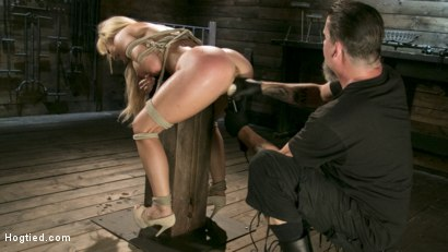 Photo number 14 from Buff MILF Cherie Deville Submits to Rope Bondage and Unwilling Orgasms shot for Hogtied on Kink.com. Featuring Cherie DeVille and The Pope in hardcore BDSM & Fetish porn.