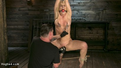 Photo number 3 from Buff MILF Cherie Deville Submits to Rope Bondage and Unwilling Orgasms shot for Hogtied on Kink.com. Featuring Cherie DeVille and The Pope in hardcore BDSM & Fetish porn.