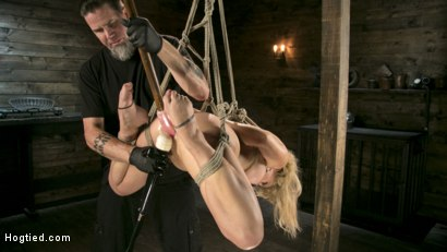 Photo number 8 from Buff MILF Cherie Deville Submits to Rope Bondage and Unwilling Orgasms shot for Hogtied on Kink.com. Featuring Cherie DeVille and The Pope in hardcore BDSM & Fetish porn.