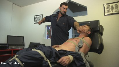 Photo number 3 from Abuse in the Workplace shot for Bound Gods on Kink.com. Featuring Jaxton Wheeler and Christian Taylor in hardcore BDSM & Fetish porn.