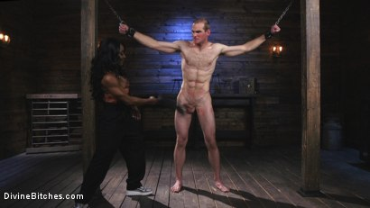 Photo number 1 from Ebony Dominatrix Kelli Provocateur Punishes Sub Man and Fucks His Ass!  shot for Divine Bitches on Kink.com. Featuring Kelli Provocateur and Jonah Marx in hardcore BDSM & Fetish porn.