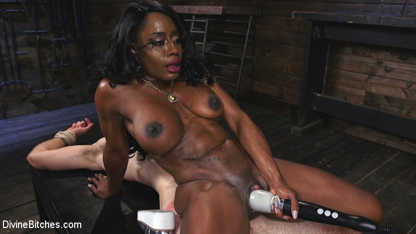 Ebony Dominatrix Kelli Provocateur Punishes Sub Man and Fucks His Ass!