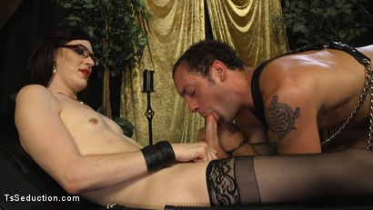 Photo number 16 from Stefani Special doms and fucks DJ, her willing handcuffed slave shot for TS Seduction on Kink.com. Featuring Stefani Special and DJ in hardcore BDSM & Fetish porn.