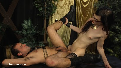 Photo number 18 from Stefani Special doms and fucks DJ, her willing handcuffed slave shot for TS Seduction on Kink.com. Featuring Stefani Special and DJ in hardcore BDSM & Fetish porn.