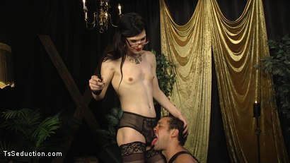 Photo number 10 from Stefani Special doms and fucks DJ, her willing handcuffed slave shot for TS Seduction on Kink.com. Featuring Stefani Special and DJ in hardcore BDSM & Fetish porn.