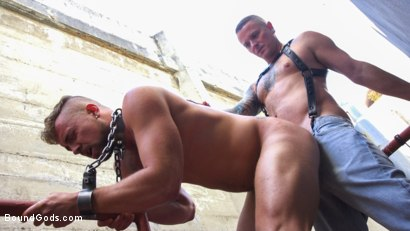 Photo number 11 from Muscle Stud is Shackled & Flogged in the Streets for SF Pride Weekend shot for Bound Gods on Kink.com. Featuring Jay Austin  and Max Cameron in hardcore BDSM & Fetish porn.