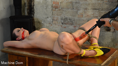 Cindy Bound, Gagged, and Machine-Fucked